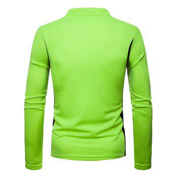 Zip Embellish Color Spliced Stand Collar T-shirt - GREEN XL