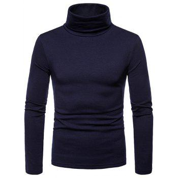 Turtle Neck Whole Colored Tee Shirt - CADETBLUE L