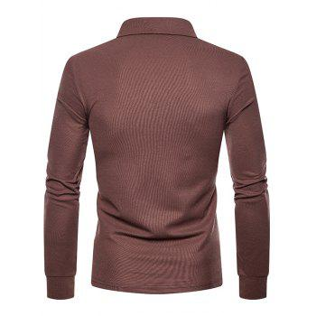 Whole Colored Polo Collar T-shirt - BROWN XL