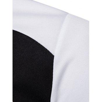 Zip Embellish Color Spliced Stand Collar T-shirt - WHITE XL