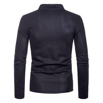 Patchwork Long Sleeve Polo Shirt - BLACK XL