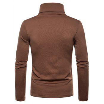 Turtle Neck Whole Colored Tee Shirt - BROWN 2XL