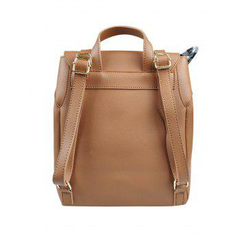 Check Bowknot String Design Backpack - BROWN
