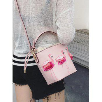 String Design Flamingo Pattern Sac à main - Rose