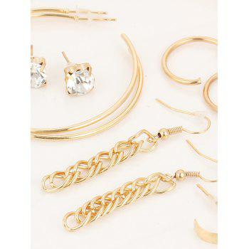 Strass infini alliage boucles d'oreilles costume - Or