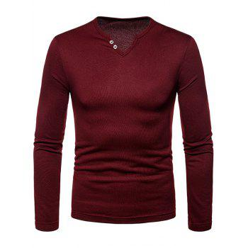 Solid Color Notch Neck Warm T-shirt - RED WINE L