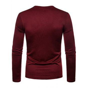 Solid Color Notch Neck Warm T-shirt - RED WINE 2XL