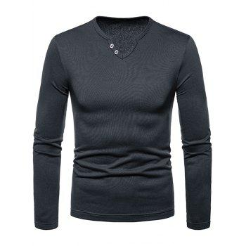 Solid Color Notch Neck Warm T-shirt - DARK GRAY M