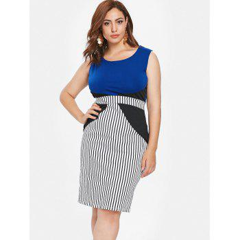 Plus Size Color Block Sleeveless Tight Dress - multicolor L