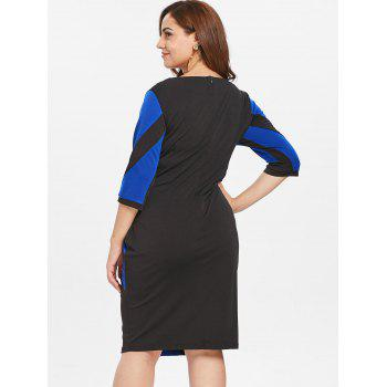 Plus Size Two Tone Tight Bodycon Dress - BLUEBERRY BLUE 1X