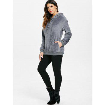 Drop Shoulder Half Zipper Faux Fur Hoodie - GRAY S