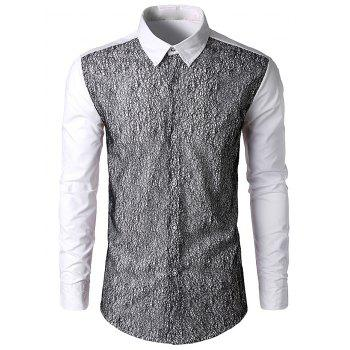 Front Mesh Embellished Button Up Shirt - WHITE L