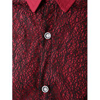 Front Mesh Embellished Button Up Shirt - RED WINE M