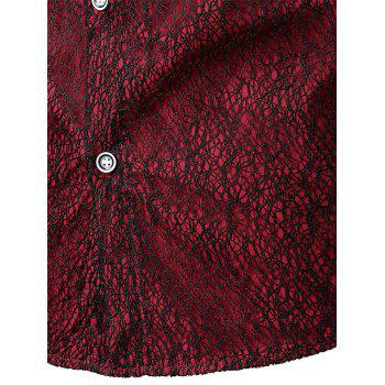 Front Mesh Embellished Button Up Shirt - RED WINE L