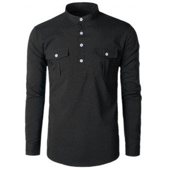 Stand Collar Casual Pockets Shirt - BLACK XL