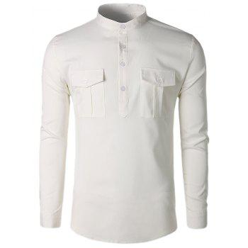 Col montant poches occasionnels chemise - Blanc L