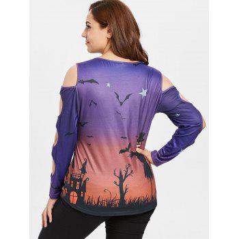 Plus Size Cold Shoulder Print Halloween T-shirt - PURPLE 2X