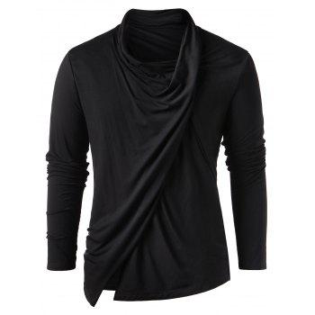 Heaps Collar Long Sleeve Asymmetric T-shirt - BLACK XL