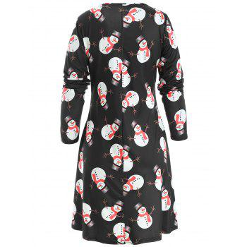 Christmas Snowman Print Mini T-shirt Dress - BLACK L