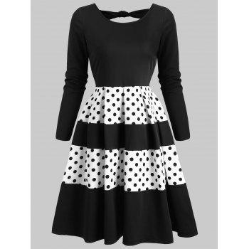 polka dot back cut out flare rockabilly style dress