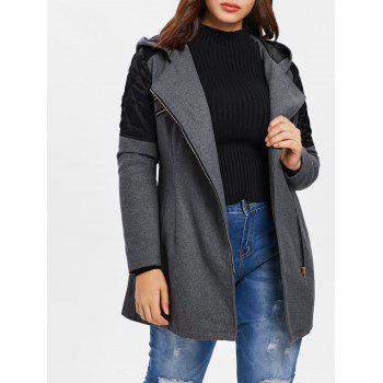 Plus Size Contrast Zip Fly Woollen Coat