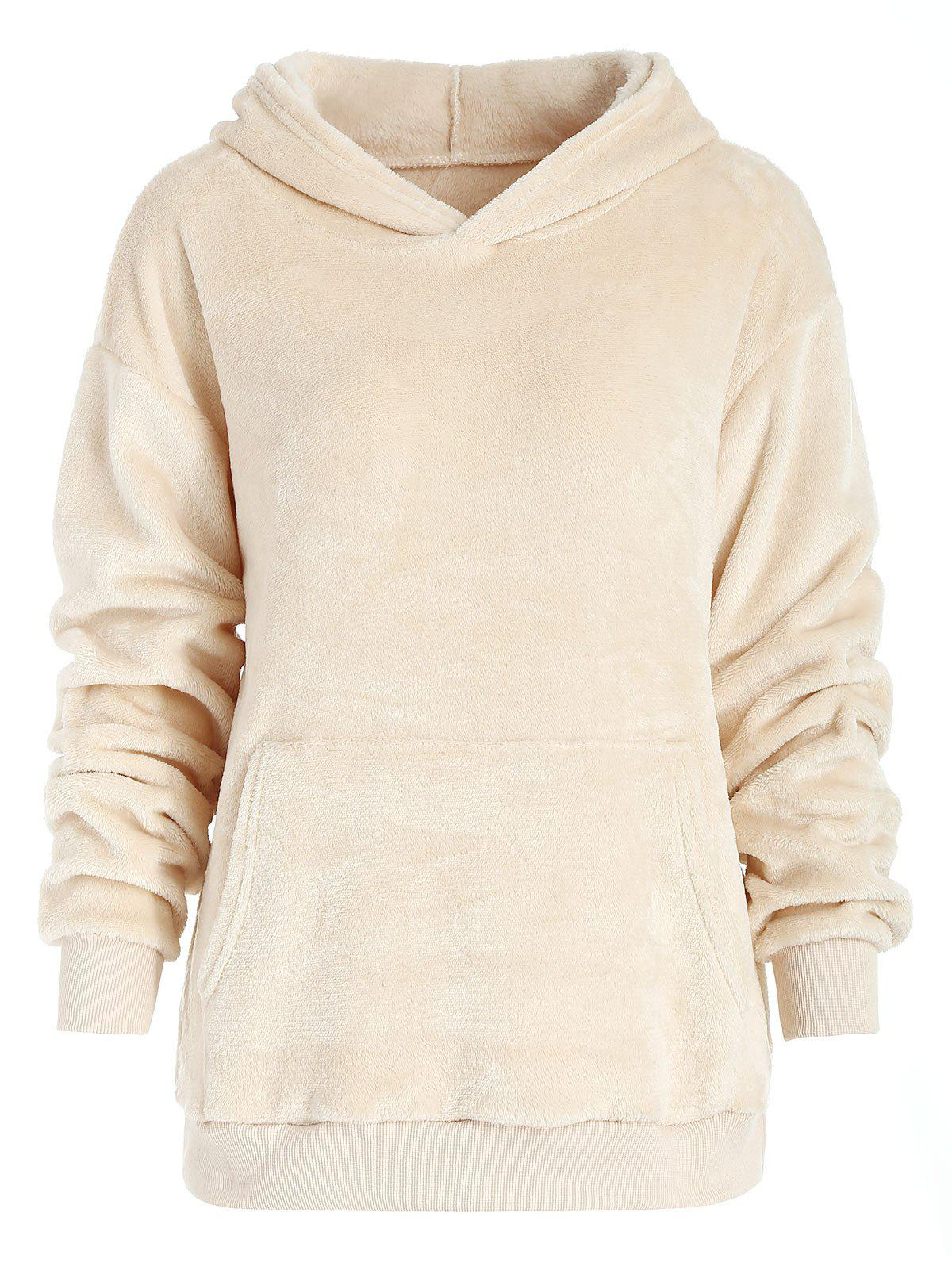 Kangaroo Pocket - Sweat à capuche en fausse fourrure - Blanc Chaud M