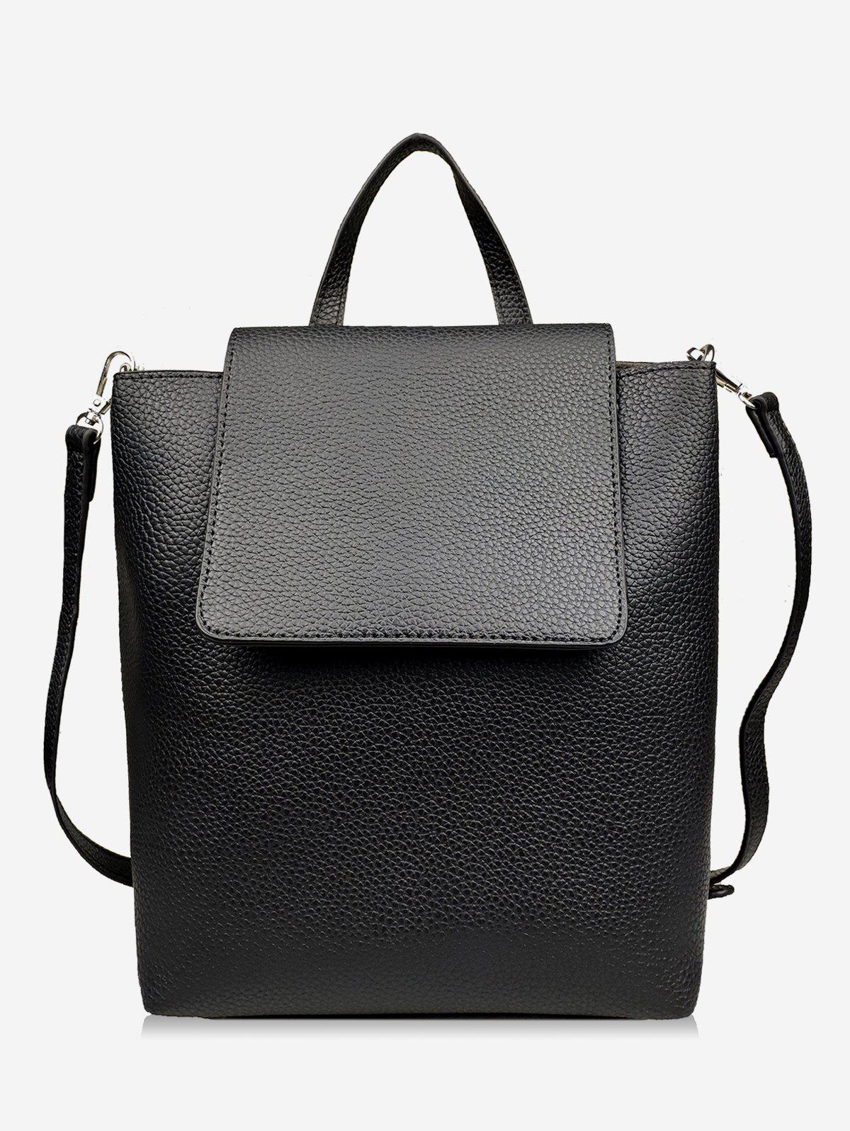 PU Leather Functional Shoulder Bag - BLACK