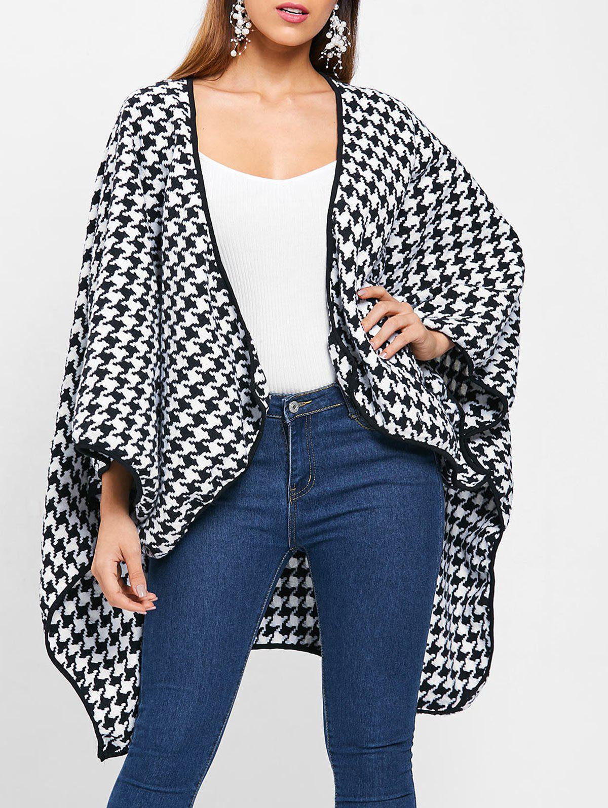 Dolman Sleeve Open Front Houndstooth Coat - multicolor ONE SIZE