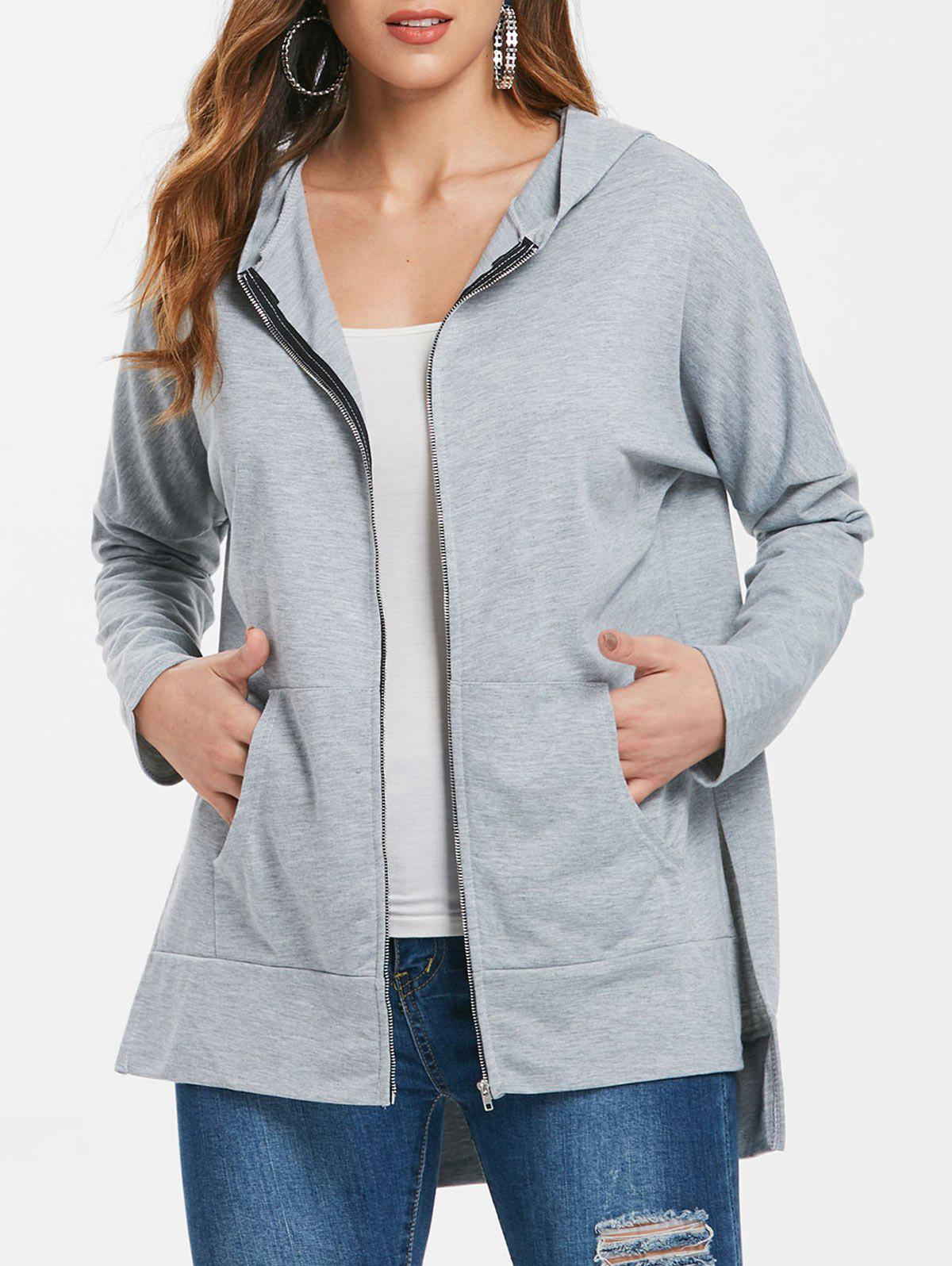 Asymmetrical Zip Up Longline Hoodie