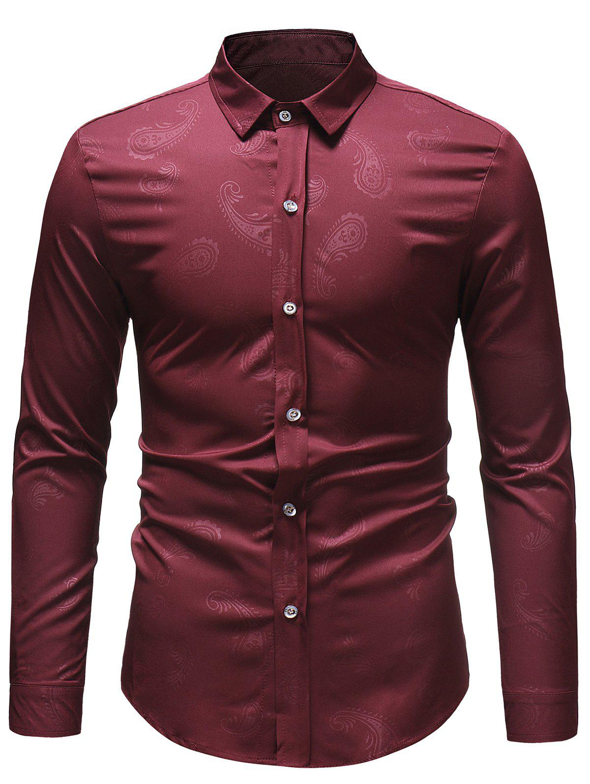 Casual Paisley Print Button Up Shirt - RED WINE S