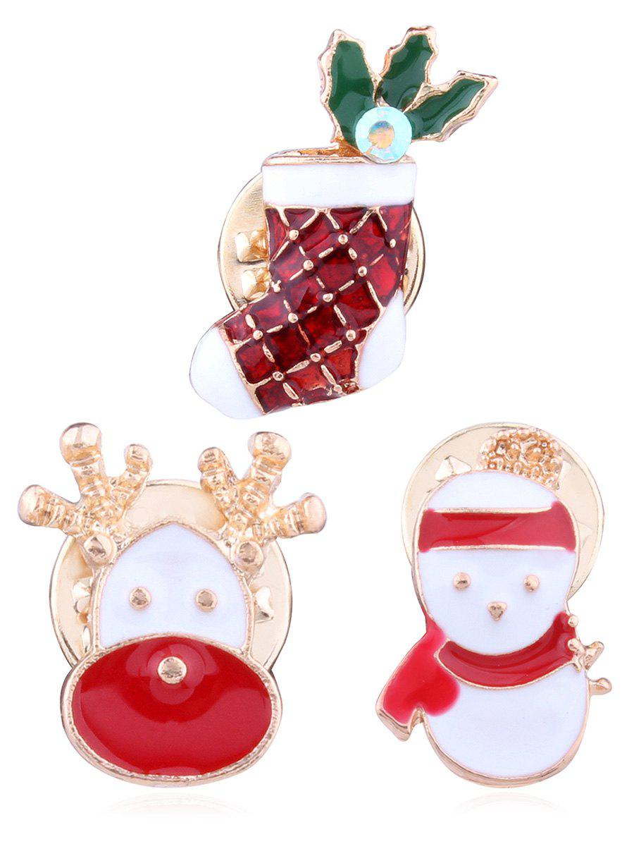Ensemble Broche Snowman Elk Sock Alloy - multicolor