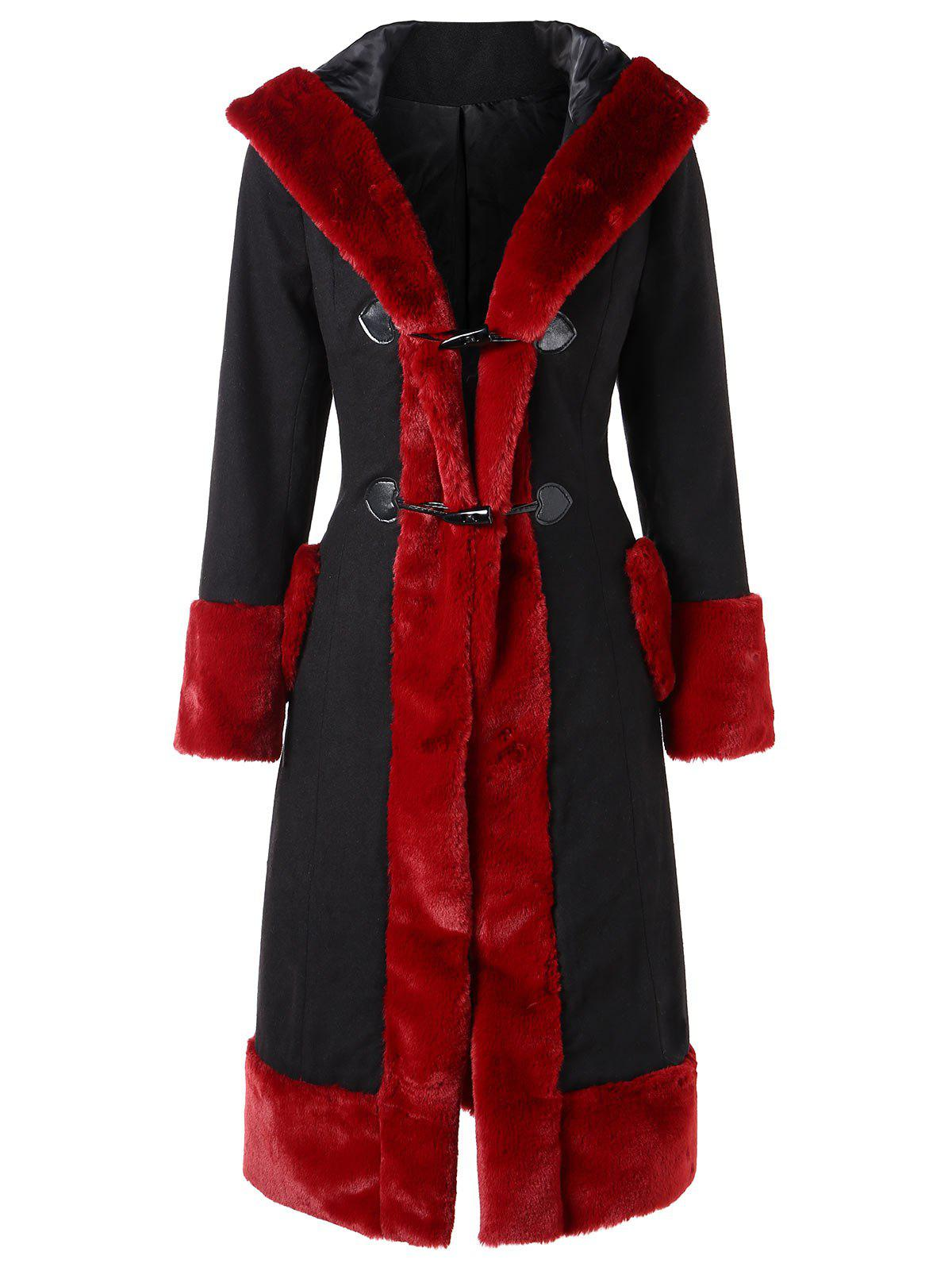 Button Up Fluffy Trim Duster Coat - RED WINE XL