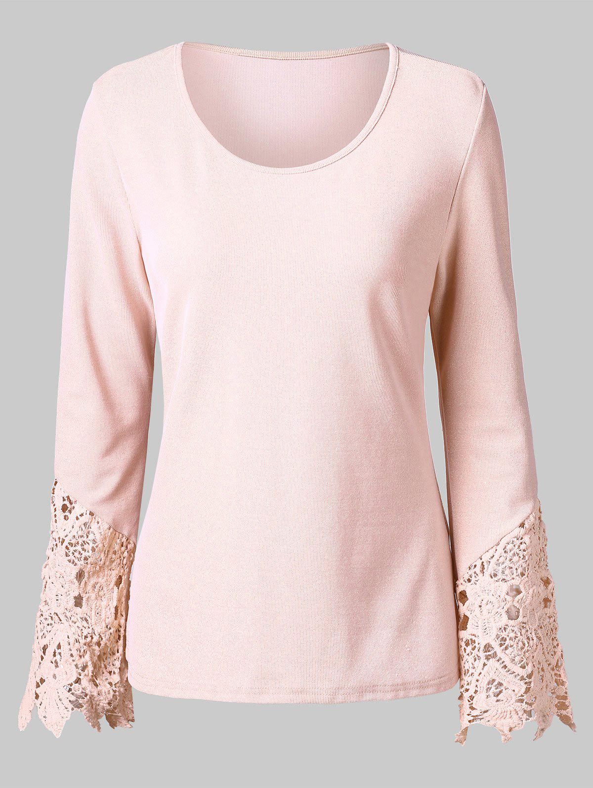 Lace Panel Long Sleeve T-shirt - LIGHT PINK L