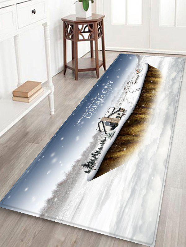 Dream City Printed Christmas Antiskid Area Rug - WHITE W24 X L71 INCH