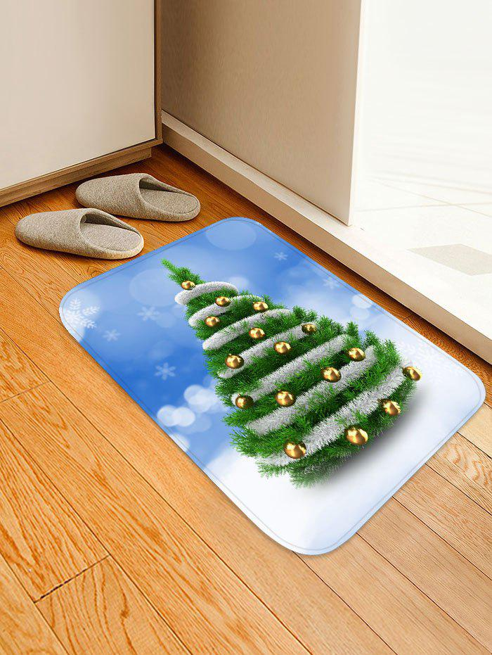 Christmas Tree and Baubles Snowflakes Print Antiskid Area Rug - JUNGLE GREEN W16 X L24 INCH