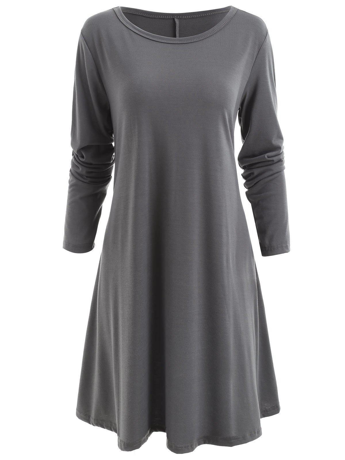 Long Sleeve Tunic T-shirt Dress - DARK GRAY 2XL