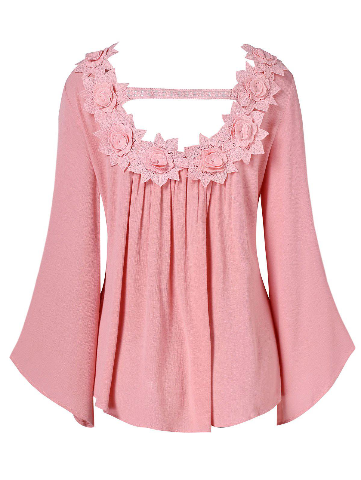 Long Sleeve Floral Applique Hollow Out Top - PIG PINK M
