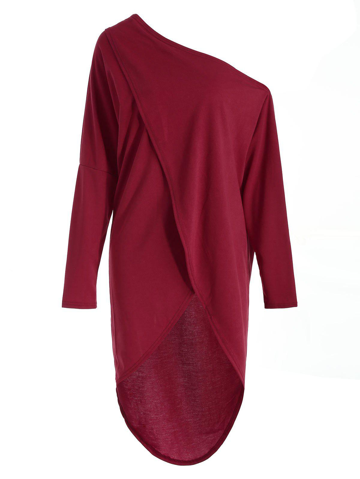 Long Sleeve Skew Neck Asymmetrical T-shirt - RED WINE L