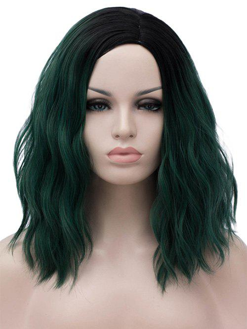Medium Side Parting Ombre Natural Wavy Party Cosplay Synthetic Wig - DARK GREEN