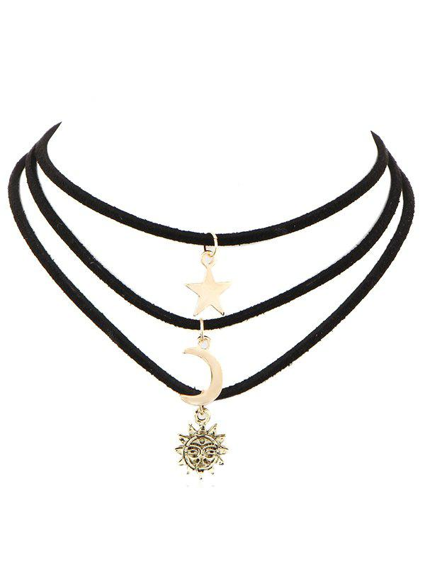Star Moon Sun Alloy Multi Layer Necklace - GOLD