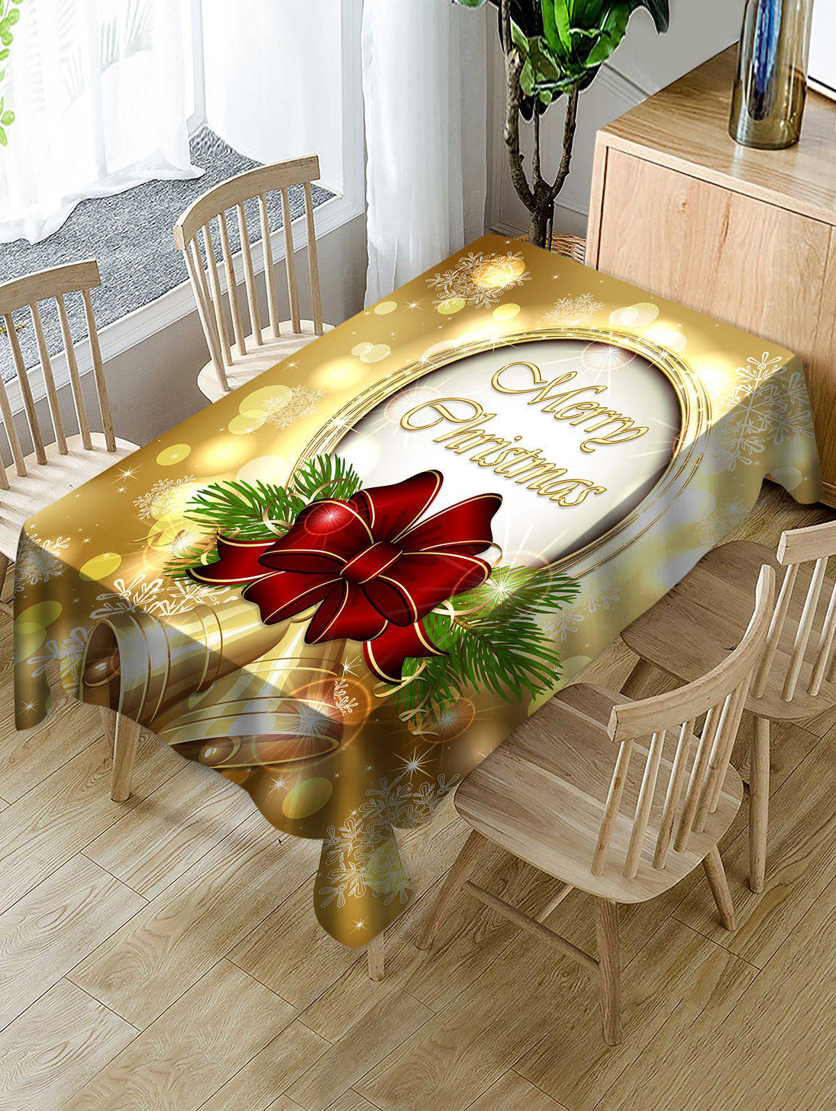 Christmas Bells Print Waterproof Tablecloth - multicolor W60 X L84 INCH