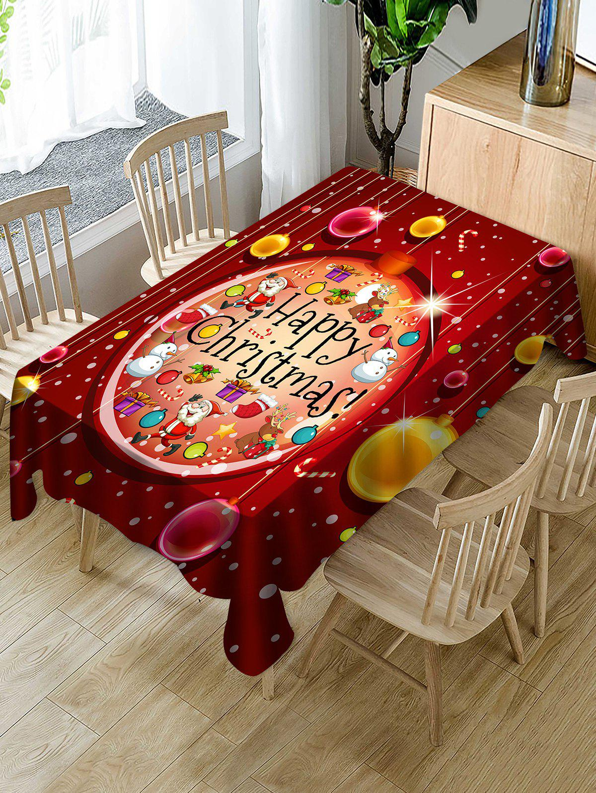 Happy Christmas Print Waterproof Tablecloth - multicolor W54 X L72 INCH