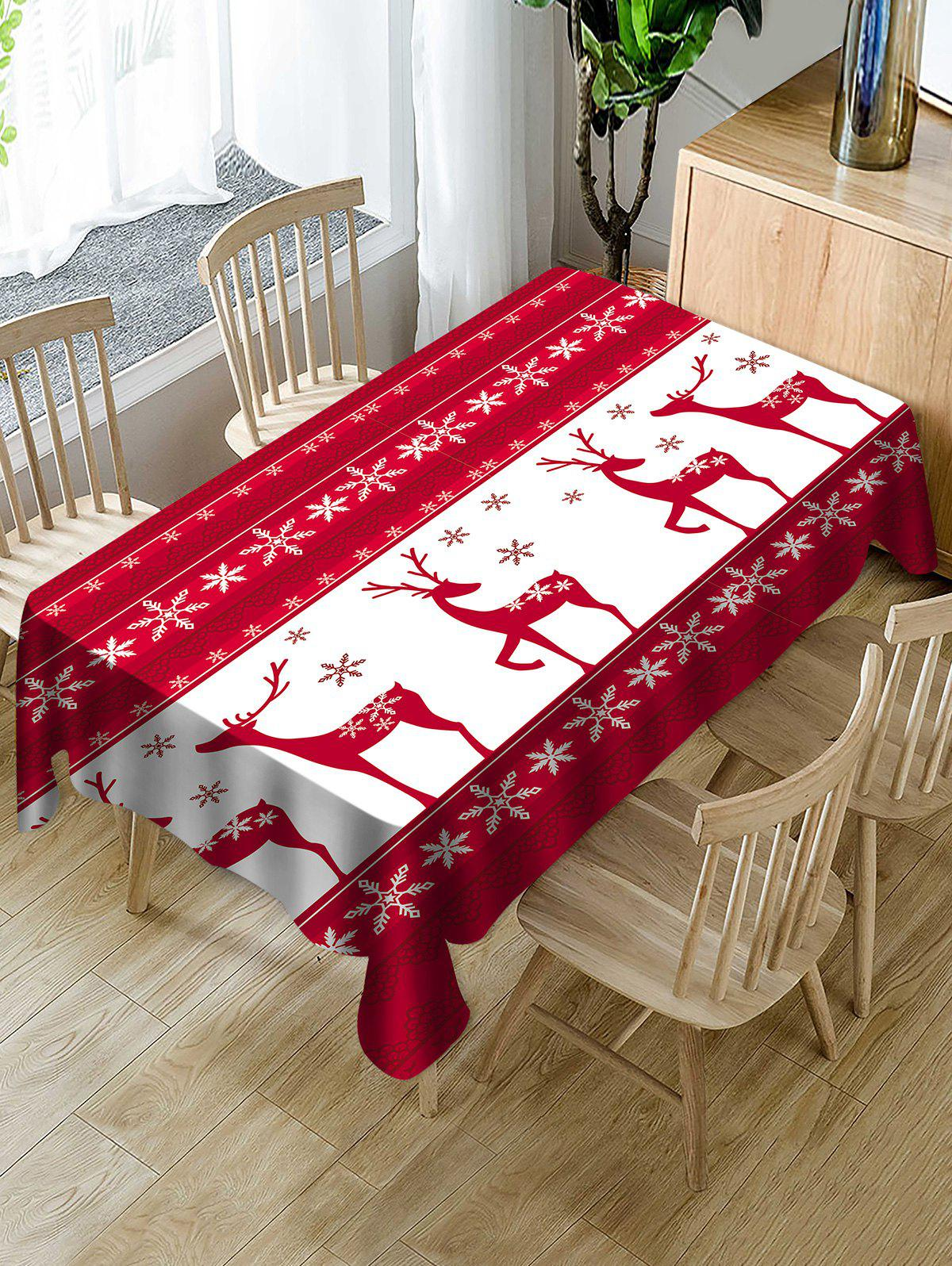 Christmas Elk Snowflake Print Waterproof Tablecloth - WHITE W54 X L72 INCH