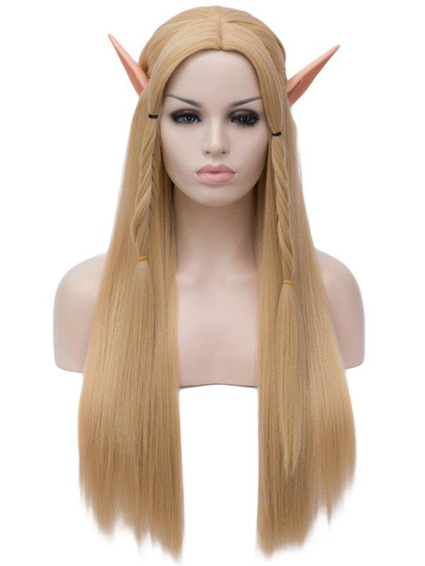 Long Center Parting Braids Straight Synthetic Cosplay Wig - BURLYWOOD