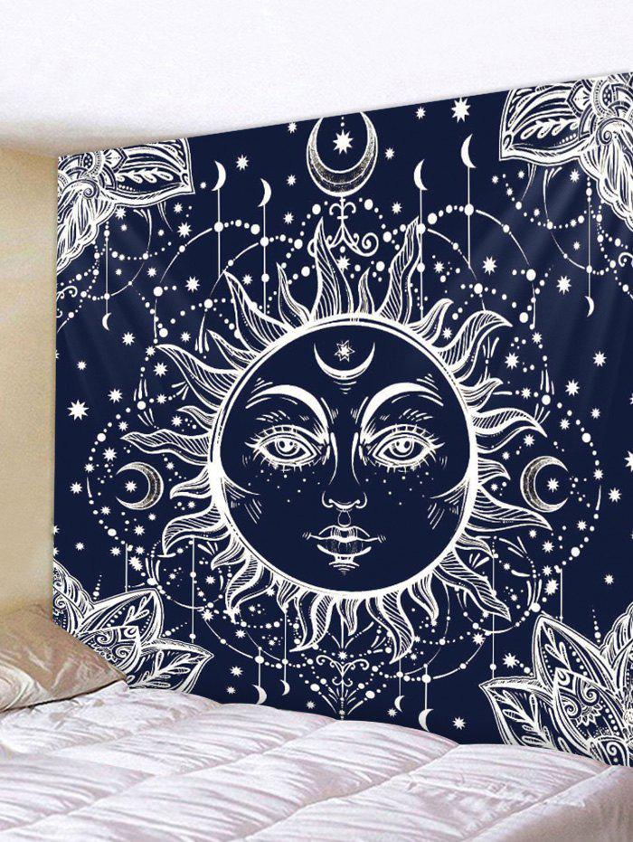 Sun God Print Tapestry Wall Art - CADETBLUE W59 X L51 INCH