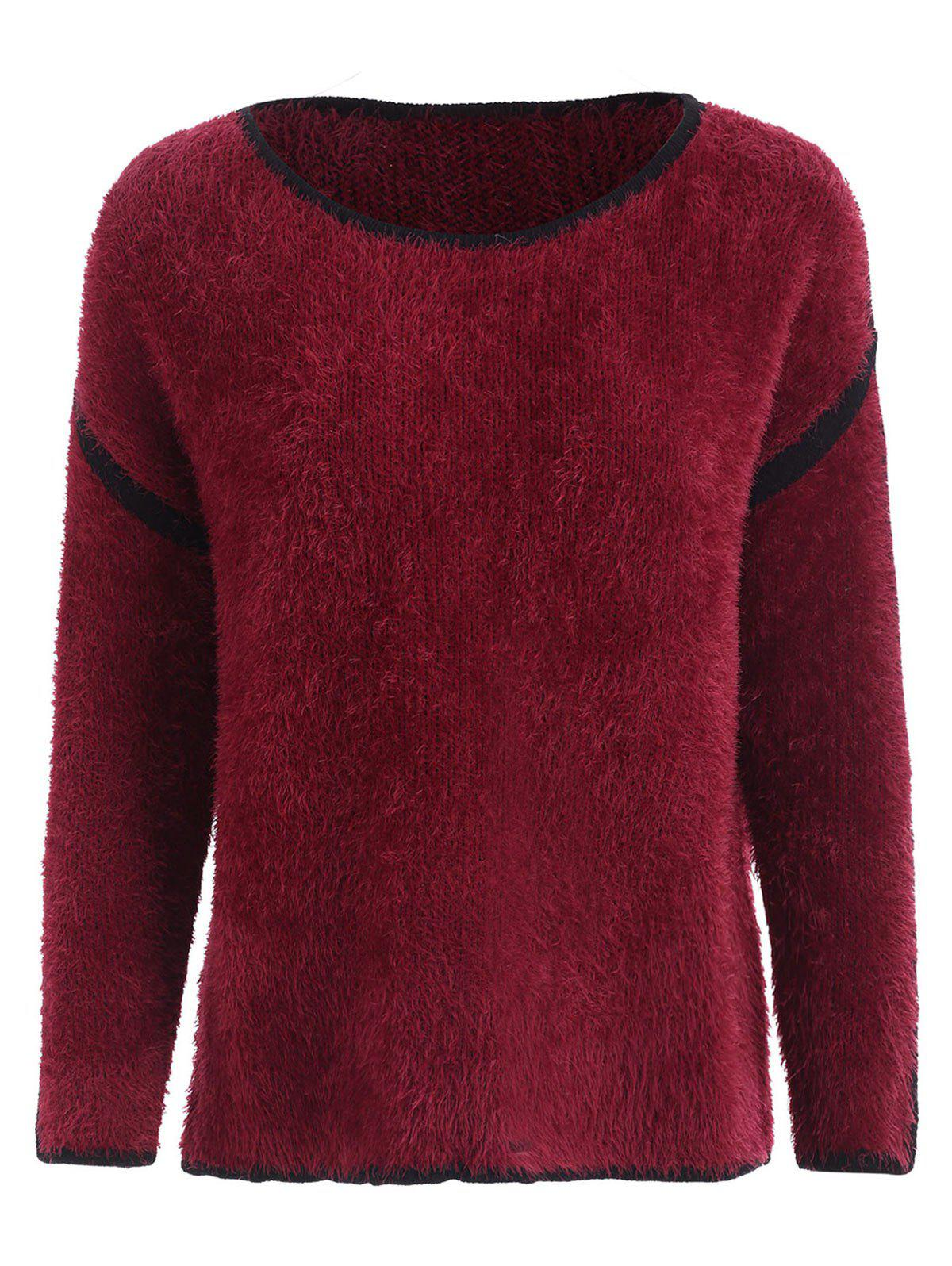Chandail Pull-over Fourré en Blocs de Couleurs - Rouge S