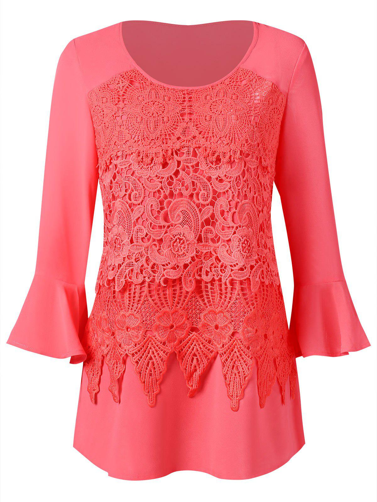 Long Sleeve Top with Lace Panel - multicolor S
