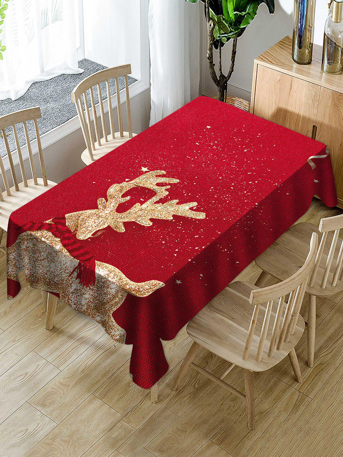 Christmas Elk Print Waterproof Tablecloth - RED W54 X L72 INCH