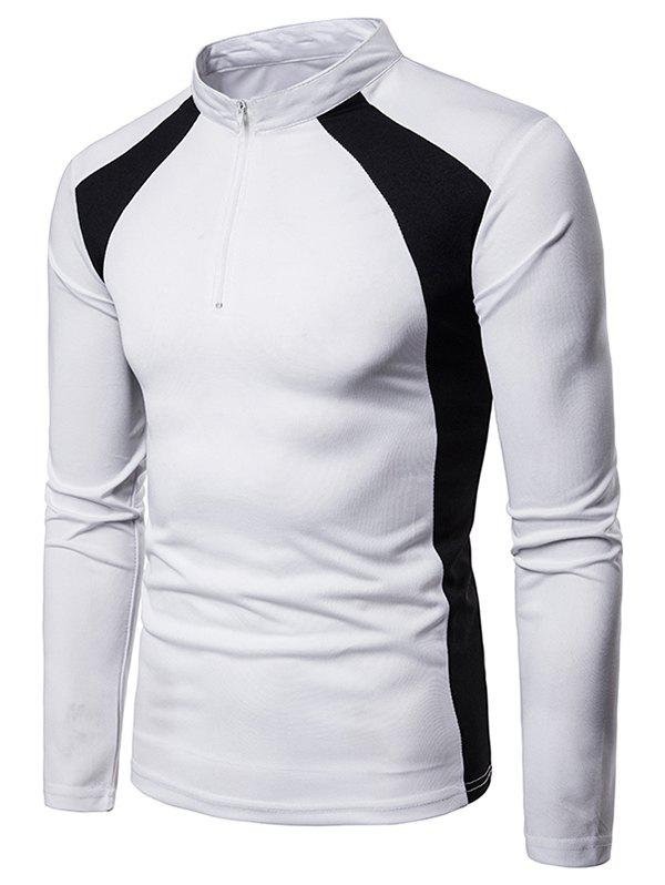 Zip Embellish Color Spliced Stand Collar T-shirt - WHITE 2XL