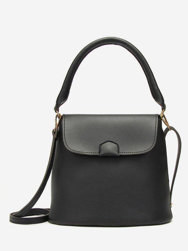 Bucket Solid Color Minimalist Handbag - BLACK